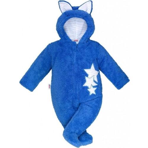 Zimní dětská kombinéza New Baby Ušáček modrá Modrá 62 (3-6m)