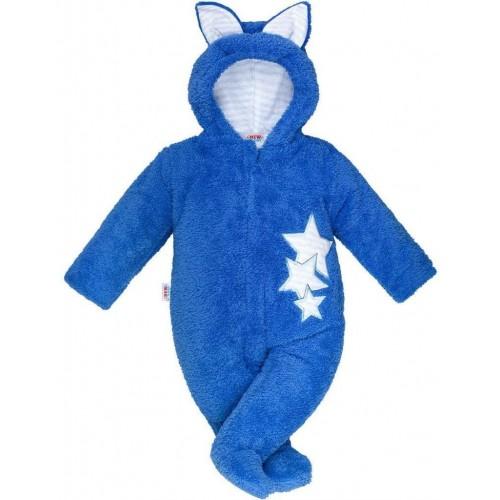 Zimní dětská kombinéza New Baby Ušáček modrá Modrá 74 (6-9m)