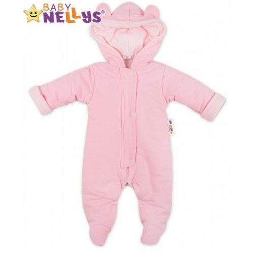 Oteplený overálek/kombinézka s kapuci a oušky Baby Nellys ® - růžový, 56 (1-2m)