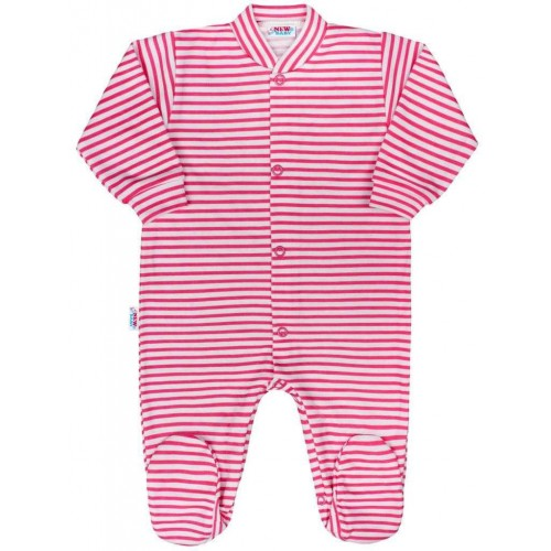 Kojenecký overal New Baby Classic II s růžovými pruhy Růžová 50
