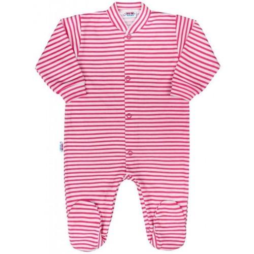 Kojenecký overal New Baby Classic II s růžovými pruhy Růžová 56 (0-3m)
