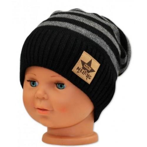 BABY NELLYS Podzimní/zimní proužkovaná čepice - černo/šedá, 3-8let
