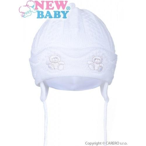 Pletená dětská čepička New Baby medvídci bílá Bílá 80 (9-12m)