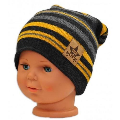 BABY NELLYS Jarní/podzimní proužkovaná čepice -grafit/šedá/žlutá, 36/38 čepičky obvod