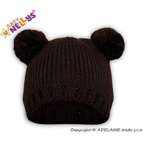 Zimní čepice Baby Nellys ® Medvídek  - tm. hnědý, 38/40 čepičky obvod