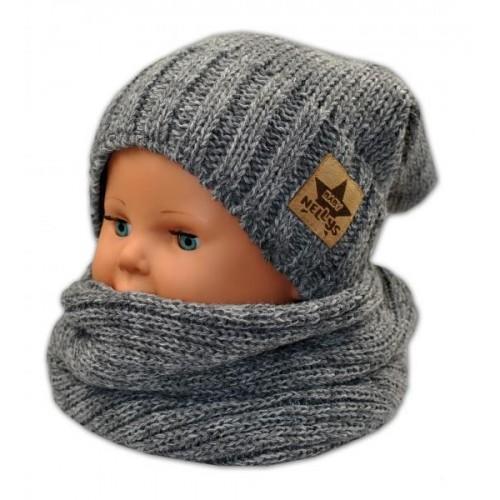 BABY NELLYS Podzimní/zimní čepice s komínkem - tm. šedá melír