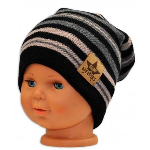 BABY NELLYS Jarní/podzimní proužkovaná čepice -černá/béžová/grafit, 36/38 čepičky obvod