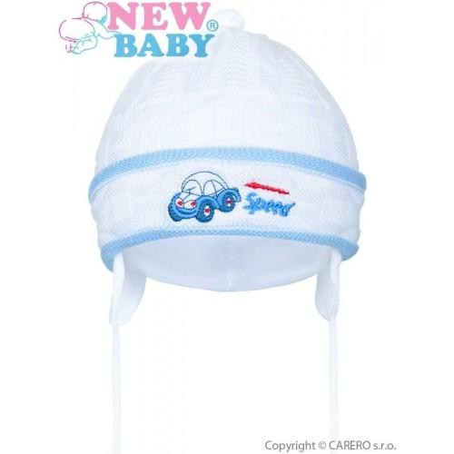 Pletená dětská čepička New Baby Speed bílo-modrá Bílá 80 (9-12m)