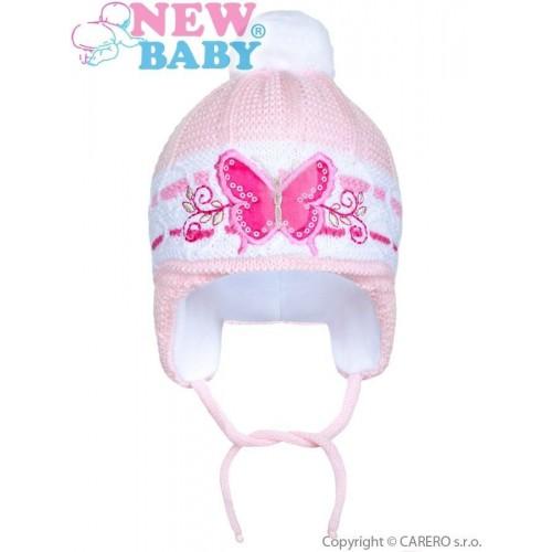 Zimní dětská čepička New Baby motýlek světle růžová Růžová 80 (9-12m)