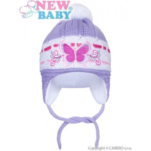Zimní dětská čepička New Baby motýlek fialová Fialová 80 (9-12m)
