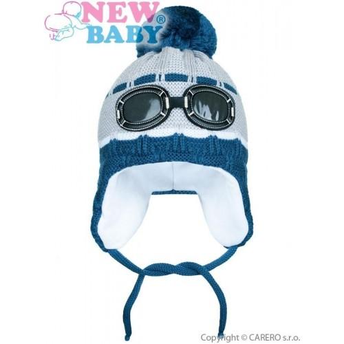 Zimní dětská čepička New Baby brýle šedá Šedá 104 (3-4r)