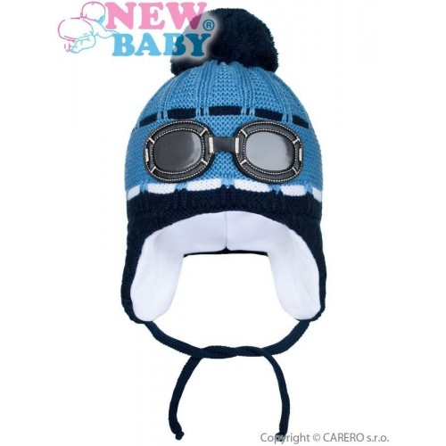 Zimní dětská čepička New Baby brýle modrá Modrá 104 (3-4r)