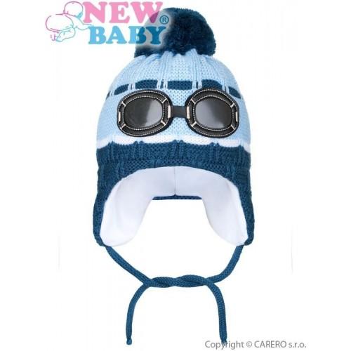 Zimní dětská čepička New Baby brýle světle modrá Modrá 104 (3-4r)