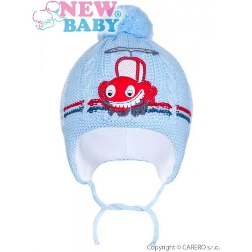 Zimní dětská čepička New Baby autíčko světle modrá Modrá 86 (12-18m)