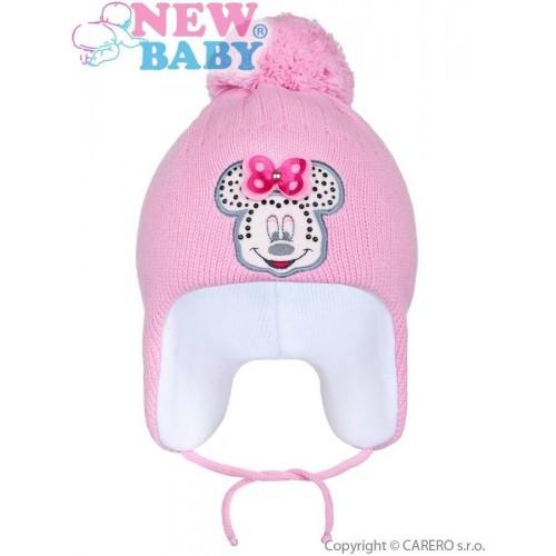Zimní dětská čepička New Baby Minnie tmavě růžová Růžová 104 (3-4r)