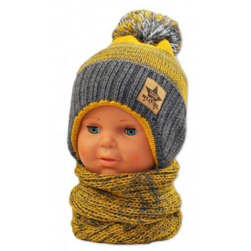 BABY NELLYS Zimní čepička s komínkem - žlutá/grafit, 92/98