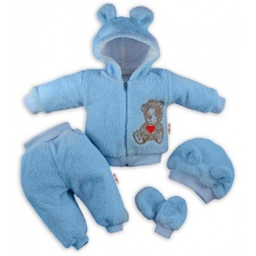 Baby Nellys 5-ti dílný chlupáčkový komplet Teddy vel. 74 - modrý, 74 (6-9m)