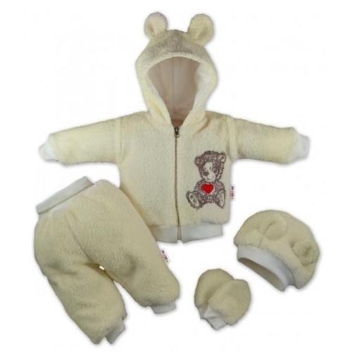Baby Nellys 5-ti dílný chlupáčkový komplet Teddy vel. 74 - krémový, 74 (6-9m)