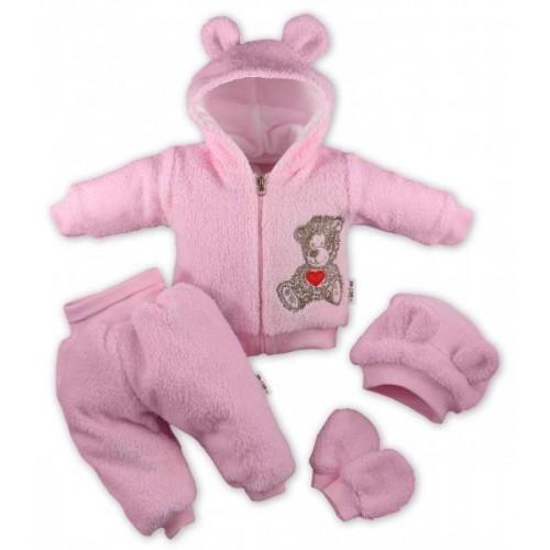 Baby Nellys 5-ti dílný chlupáčkový komplet Teddy vel. 74 - růžový, 74 (6-9m)
