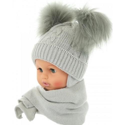 BABY NELLYS Zimní čepička s šálou - chlupáčkové bambulky - šedá, 0/4měsíců