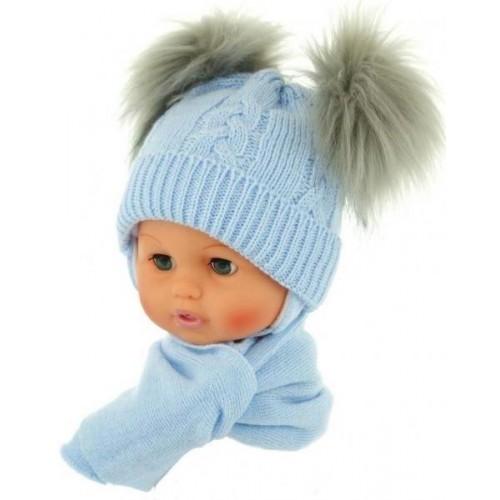 BABY NELLYS Zimní čepička s šálou - chlupáčkové bambulky - sv. modrá, 0/4měsíců