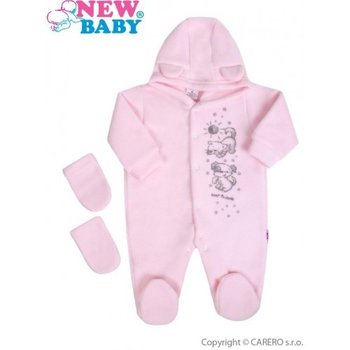 Fleecový overal New Baby Kamarádi růžový Růžová 74 (6-9m)