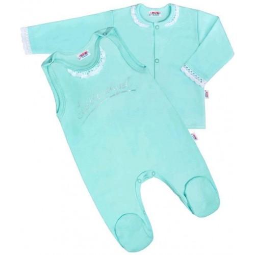 2-dílná bavlněná souprava New Baby Angel modrá Modrá 68 (4-6m)