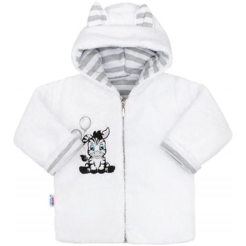 Luxusní dětský zimní kabátek s kapucí New Baby Zebra Bílá 74 (6-9m)