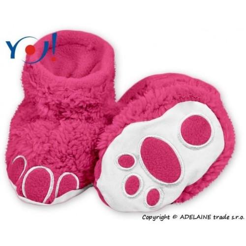 Botičky/ponožtičky YO ! MEDVÍDEK, vel. 6 - 12m - malinové, 74 (6-9m),80 (9-12m)