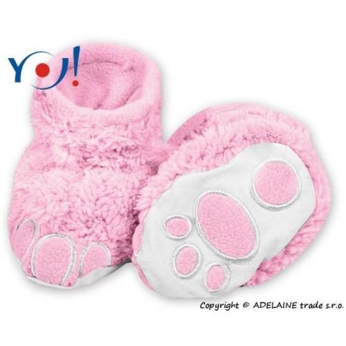 Botičky/ponožtičky YO ! MEDVÍDEK - sv. růžové, 56 (1-2m) ,62 (2-3m),68 (4-6m)
