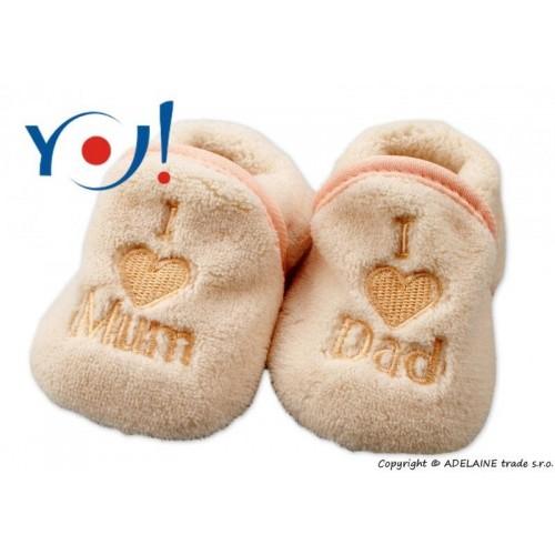 Botičky/ponožtičky YO ! I LOVE, vel. 6 - 12m - sv. béžové, 74 (6-9m),80 (9-12m),86 (12-18m)