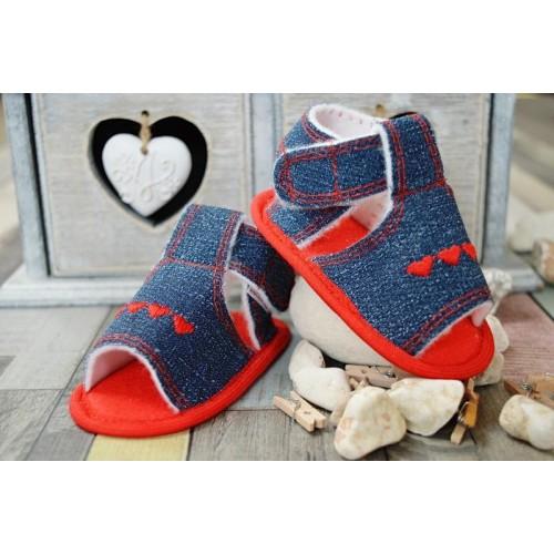 Jeansové capačky/sandálky LOLA BABY - jeans/červená, 13cm vel. botky