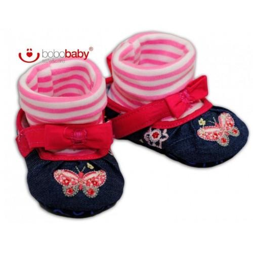 Balerínky capačky/botičky BOBO BABY - jeans/růžové, 12/18měsíců