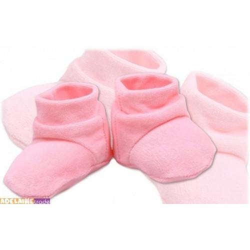 TERJAN Botičky/ponožtičky VELUR - sv. růžové
