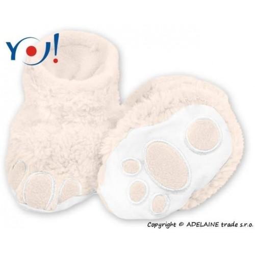 Botičky/ponožtičky YO ! MEDVÍDEK, vel. 6 - 12m - smetanové, 74 (6-9m),80 (9-12m)