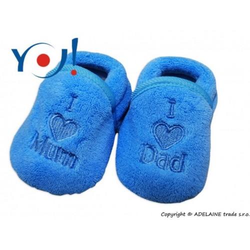 Botičky/ponožtičky YO ! I LOVE - modré, 74 (6-9m),80 (9-12m),86 (12-18m)