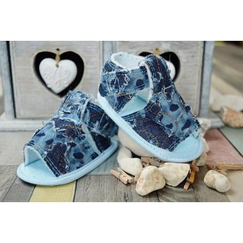 Jeansové capačky/sandálky LOLA BABY - modré, 0/6 měsíců