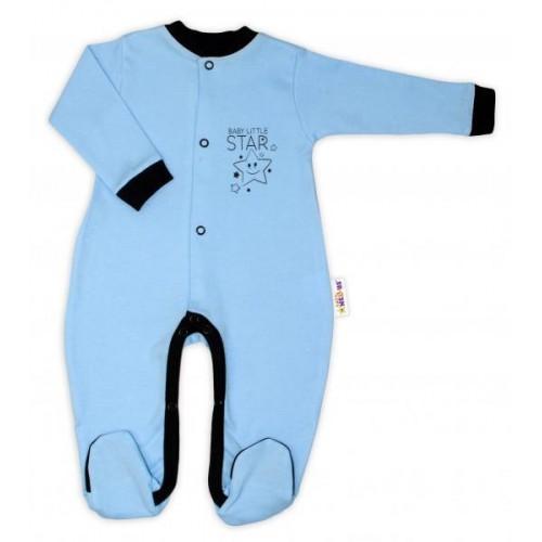 Baby Nellys Bavlněný overálek Baby Little Star - modrý, vel. 80, 80 (9-12m)