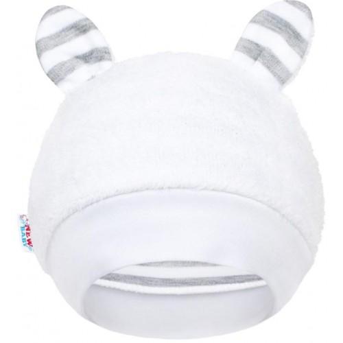 Luxusní dětská zimní čepička s oušky New Baby Zebra Bílá 80 (9-12m)