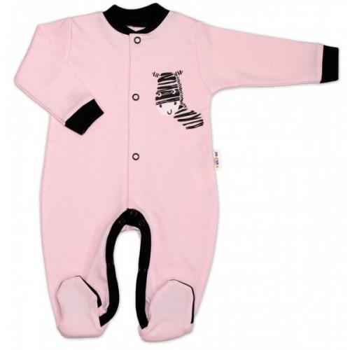 Baby Nellys Bavlněný overálek Zebra - růžový, vel. 80, 80 (9-12m)