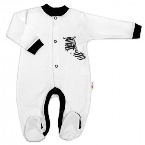 Baby Nellys Bavlněný overálek Zebra - bílý, vel. 80, 80 (9-12m)