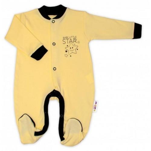 Baby Nellys Bavlněný overálek Baby Little Star - žlutý, vel. 80, 80 (9-12m)
