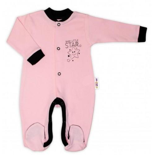 Baby Nellys Bavlněný overálek Baby Little Star - růžový, vel. 80, 80 (9-12m)