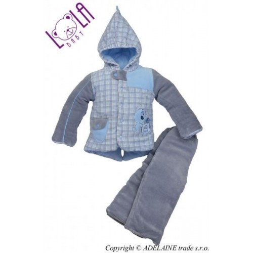 LOLA BABY Oteplený komplet - bundička a kalhoty DOGI, 80 (9-12m)