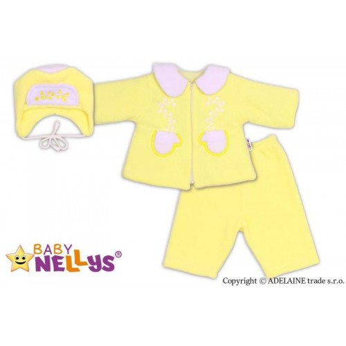 Kabátek, čepička a kalhoty Baby Nellys ® - krémově žlutá, 62 (2-3m)