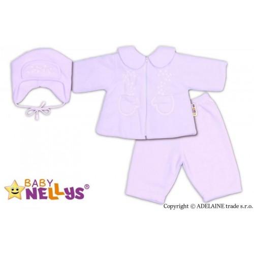 Kabátek, čepička a kalhoty Baby Nellys ®- bílá, 62 (2-3m)