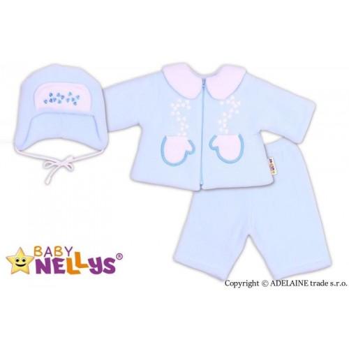Kabátek, čepička a kalhoty Baby Nellys ®- sv. modrá, 62 (2-3m)
