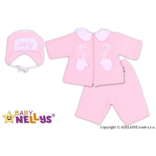 Kabátek, čepička a kalhoty Baby Nellys ®- sv. růžová, 62 (2-3m)
