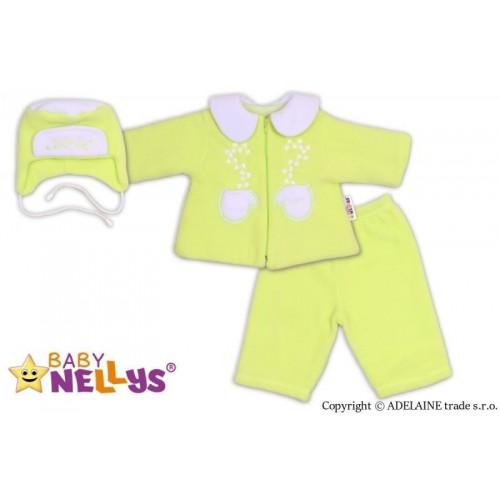 Kabátek, čepička a kalhoty Baby Nellys ®- zelená, 68 (4-6m)