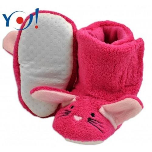 YO ! Zimní botičky/capáčky polar YO! - Králiček - malinové, 12/18měsíců
